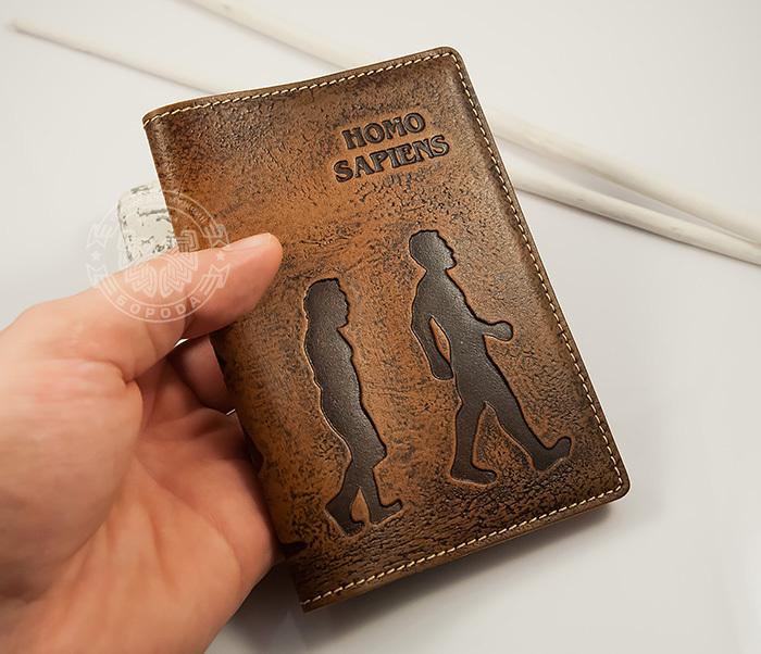 BY14-26-02 Обложка для паспорта «Homo Sapiens» из натуральной кожи фото 05