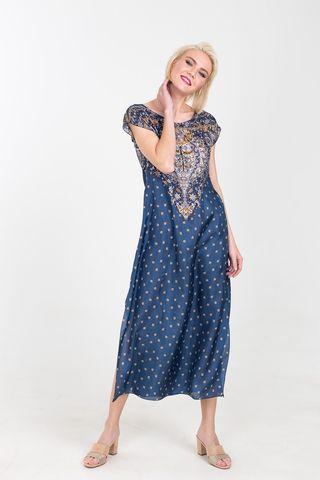 Фото шелковое платье тёмно-синего цвета с узором - Платье З379-746 (1)