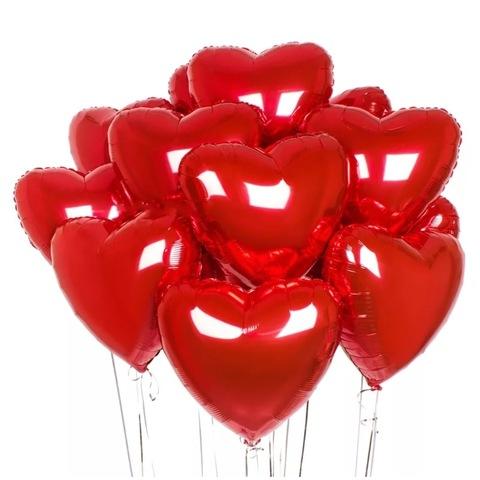 Красные воздушные шары сердца из фольги