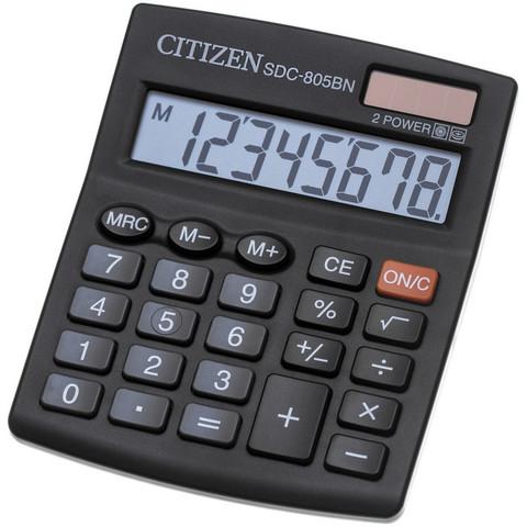 Калькулятор настольный КОМПАКТНЫЙ Citizen SDC805BN 8-разрядный черный