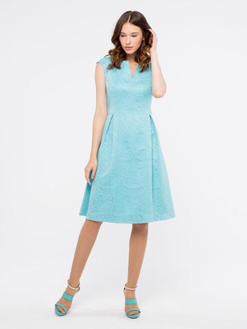 Фото бирюзовое платье с широкой юбкой и приталенным силуэтом - Платье З905а-767 (1)