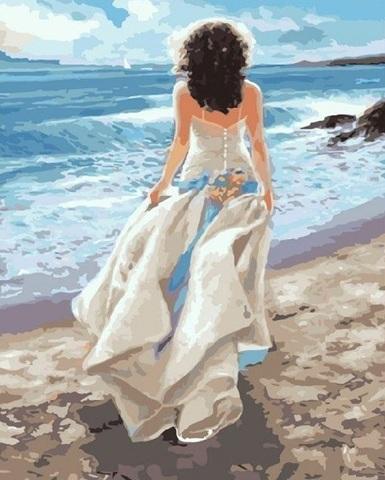 Алмазная Мозаика 40x50 Девушка в белом платье на берегу (арт. TCH8014 )
