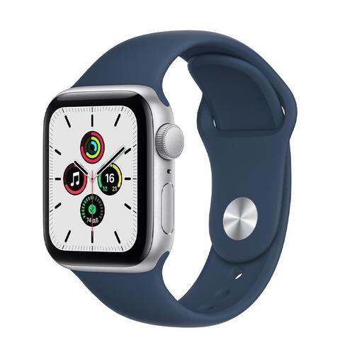 Apple Watch SE, GPS, 40 мм, алюминий серебристого цвета, спортивный ремешок цвета «Синий омут»