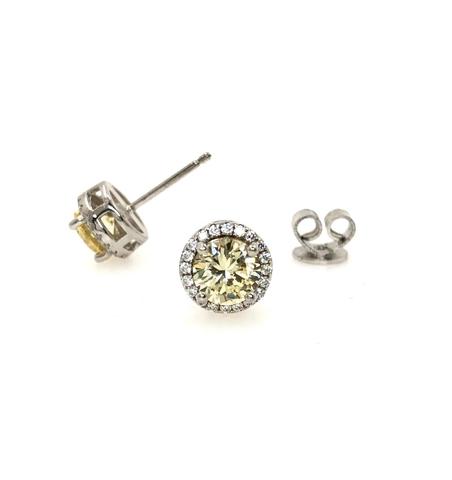 21950- Серьги пусеты из серебра с желтым цирконом круглой огранки