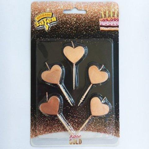 Свечи д/торта на пик Сердца Роз зол 5штV