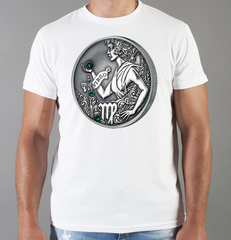 Футболка с принтом Знаки Зодиака, Дева (Гороскоп, horoscope) белая 0023