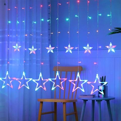 Гирлянда шторы Звезды 3 м разноцветная