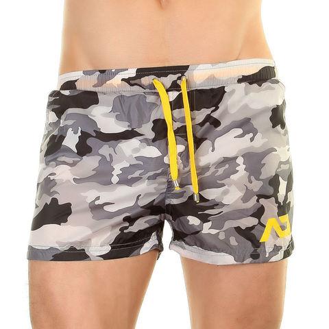 Мужские короткие шорты серые камуфляжные ADDICTED