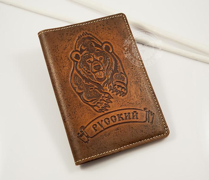 BY14-32-03 Обложка на паспорт «Русский» из натуральной кожи фото 03