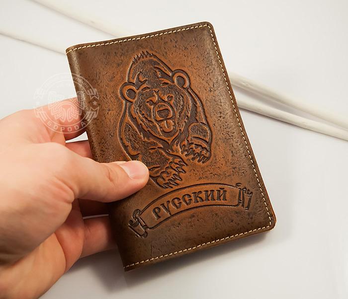 BY14-32-03 Обложка на паспорт «Русский» из натуральной кожи фото 04