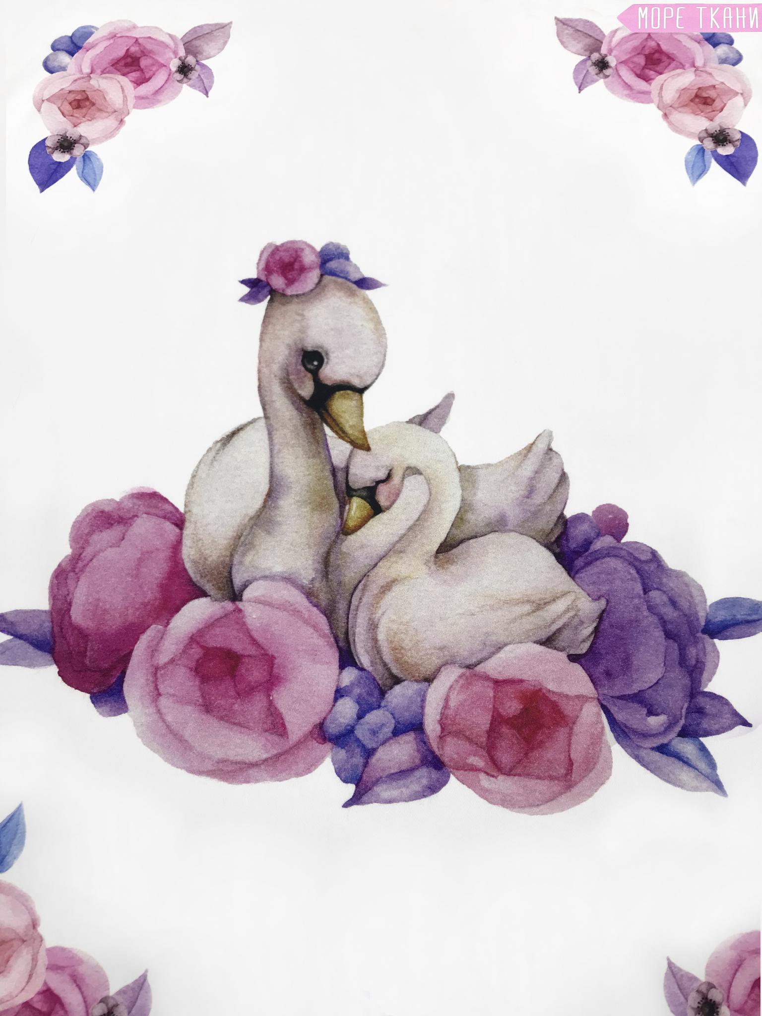 Панель(купон)  мама,малыш-лебеди -75*100 см