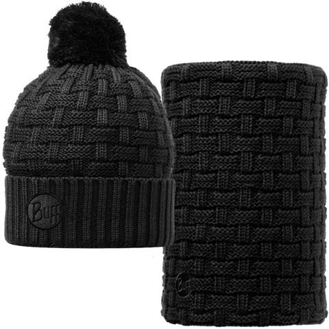 Комплект шарф-шапка вязаный с флисом Buff Airon black фото 2