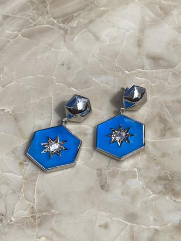 Серьги Сириус из серебра с синей эмалью