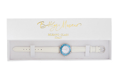 Белые женские наручные часы кожаный ремешок голубой циферблат