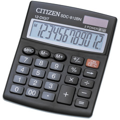 Калькулятор настольный КОМПАКТНЫЙ Citizen SDC812BN 12-разрядный черный