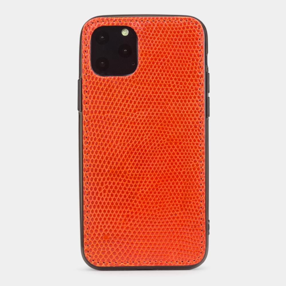 Special order: Чехол-накладка для iPhone 11 Pro из натуральной кожи ящерицы, оранжевого цвета