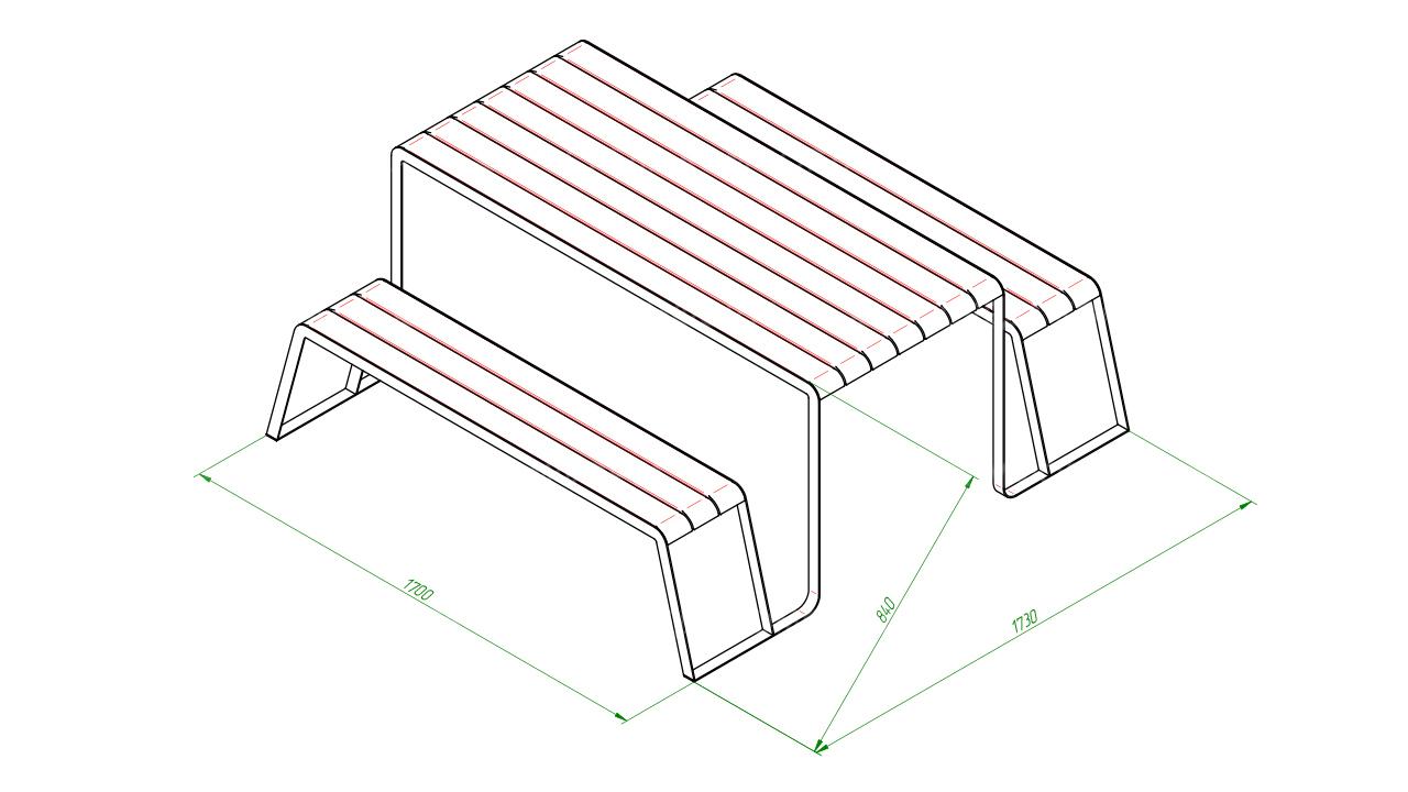 Скамейка со столом SCAM0241