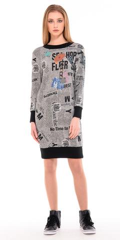 Фото спортивное платье с оригинальным принтом и контрастными резинками - Платье З232-647 (1)