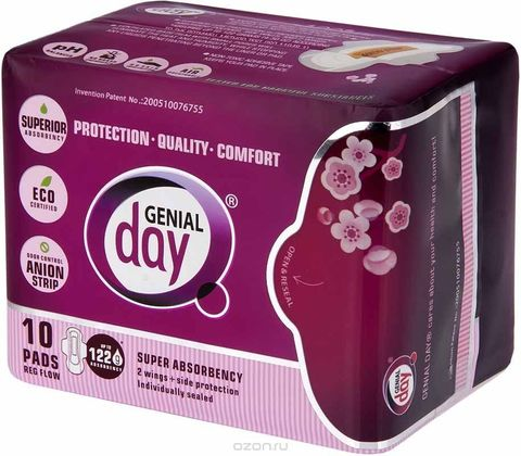 Гигиенические женские эко-прокладки GENIAL DAY дневные упак.10 шт (ЖЕНСКИЙ СЕКРЕТ)