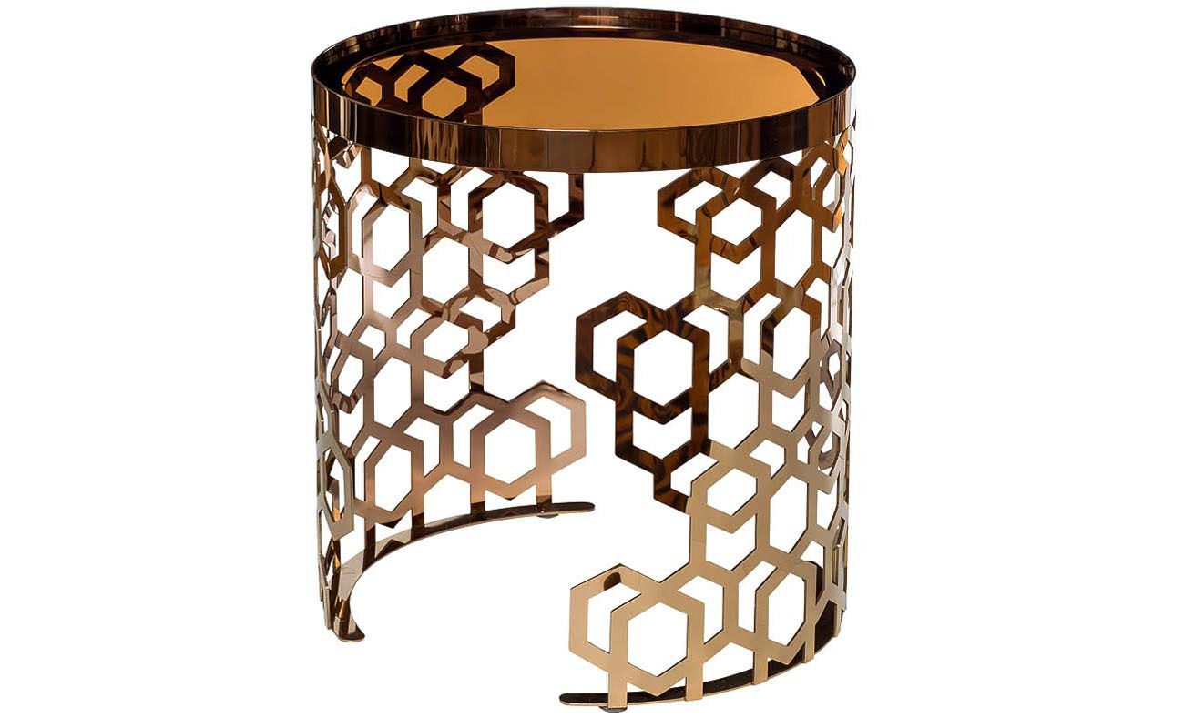 Стол журнальный 13RXET8011-GOLD стекло коричн./роз.зол d50*50см