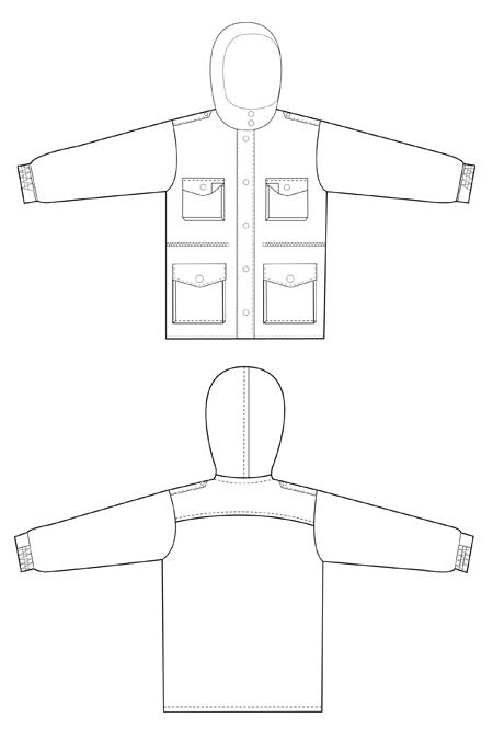 Выкройка костюма для ОРТ с капюшоном куртка технический рисунок