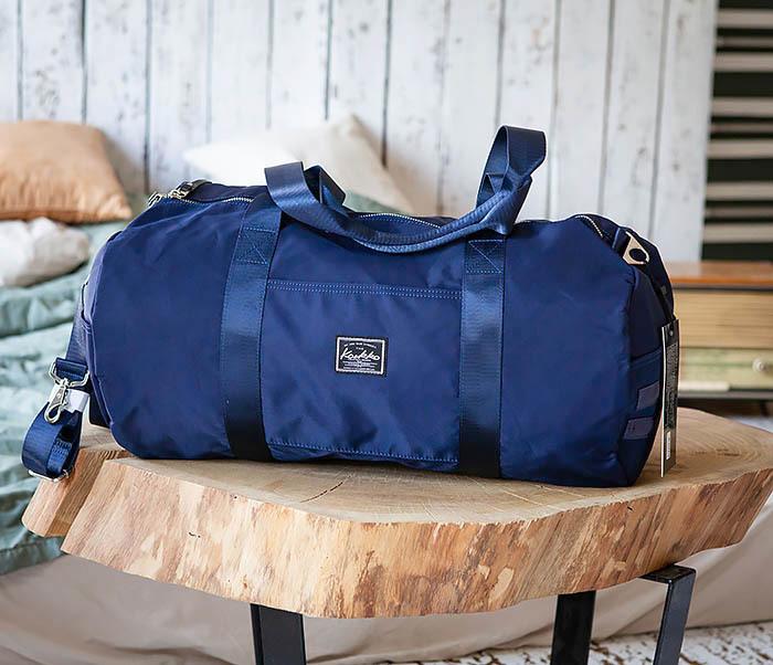 BAG481-4 Сумка из ткани синего цвета с ремнем на плечо фото 02