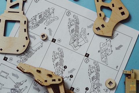 Гидравлическая рука UNIMO (UNIWOOD) - Деревянный конструктор, 3D пазл, сборная модель