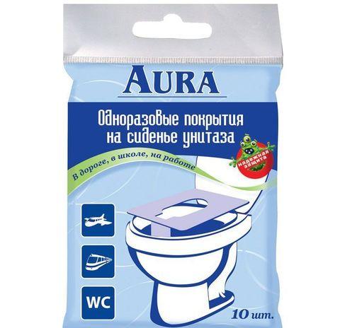 Aura. Одноразовые накладки на унитаз, 1уп/10 шт