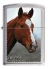 Зажигалка Zippo Рыжая лошадь, латунь с покрытием Brushed Chrome, серебристая, матовая, 36x12x56 мм