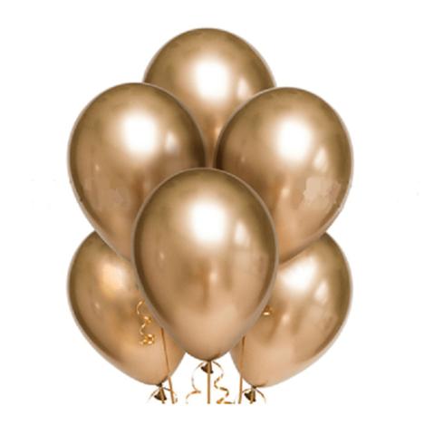 Воздушные шары хром золотые