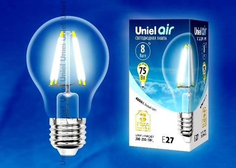 Uniel Лампа LED-A60-8W/NW/E27/CL Air (белый свет)