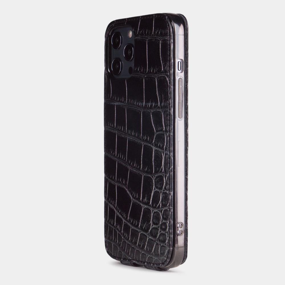 Special order: Чехол для iPhone 12 Pro Max из натуральной кожи крокодила, черного цвета