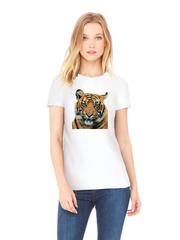 Футболка с принтом Тигр (Tiger) белая w002