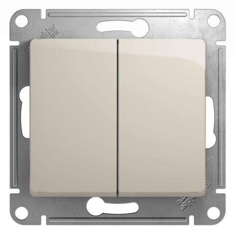 Переключатель двухклавишный, 10АХ. Цвет Молочный. Schneider Electric Glossa. GSL000965