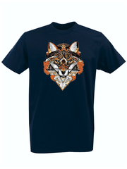 Футболка с принтом Лиса (Лисенок, fox) темно-синяя 0012