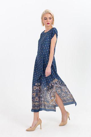 Фото шелковое синее платье с узором и разрезами по бокам - Платье З379а-746 (1)