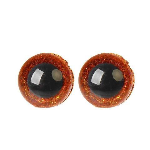 Глазки пластиковые с искоркой 12 мм карие