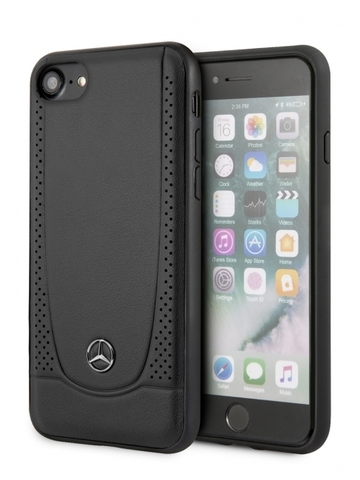 Mercedes / Чехол Mercedes для телефона iPhone 7/8/SE 2020 Urban Smooth/perforated Hard Leather Black