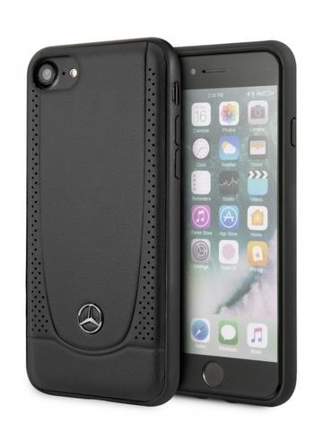Чехол Mercedes для iPhone 7/8/SE 2020 | логотип перфорация кожа черный