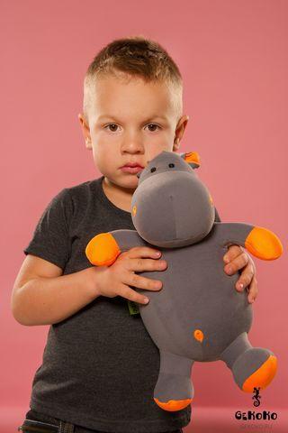Подушка-игрушка антистресс Gekoko «Бегемот малыш Няша», оранжевый