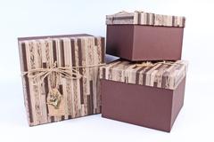 Подарочная коробка Черная в полоску 20.5x20.5x16см