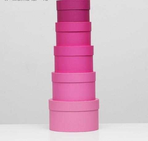 Коробка круглая розовая с крышкой, 18*18*12см