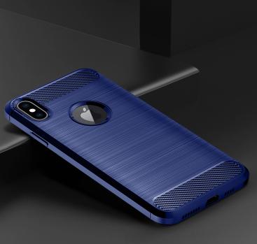 Чехол для iPhone XS Max цвет Blue (синий), серия Carbon от Caseport