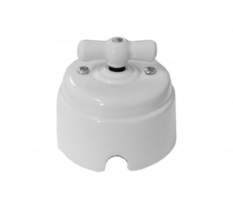 Выключатель керамический 1-2 клавишный (белый)