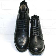 Зимние классические мужские ботинки на натуральном меху LucianoBelliniBC3801L-Black .