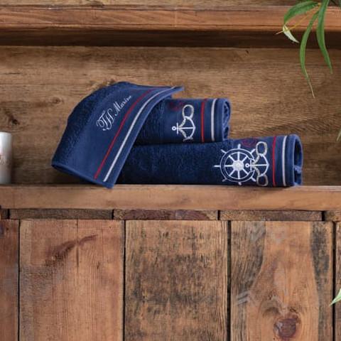 Набор полотенец  NAVY синий 3 предметов +ароматизатор  TIVOLYO HOME Турция