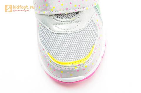 Светящиеся кроссовки для девочек Фиксики на липучках, цвет серый, мигает картинка сбоку. Изображение 11 из 15.