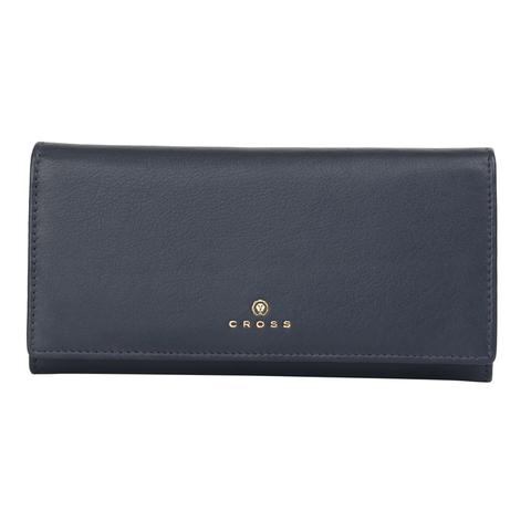 Женский кожаный большой кошелёк 20х11х2,5 см CROSS Monaco Navy AC898288_1-5