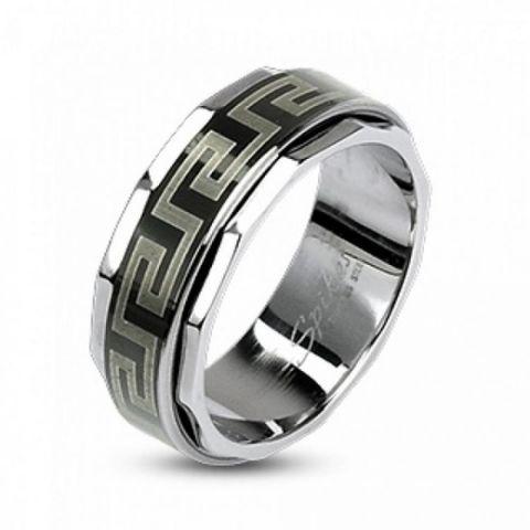 Кольцо из стали 21,5 размер с крутящейся серединой и греческим орнаментом SPIKES R-H1590