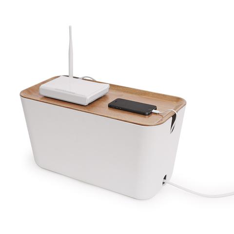 Органайзер для проводов Box большой белый-коричневый